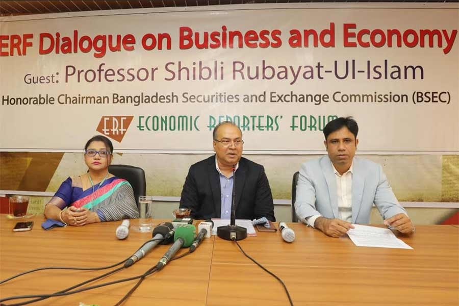 Bangladesh Securities and Exchange Commission (BSEC) Chairman Prof Shibli Rubayat-Ul-Islam addressing the maiden 'Economic Reporters' Forum (ERF) Dialogue on Business and Economy' at the ERF office in Dhaka on Saturday