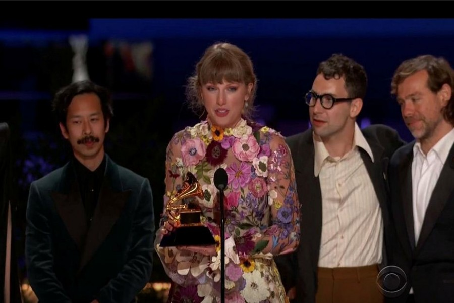 """Taylor Swift wins the Grammy for Album of the Year for """"Folklore"""" in this screen grab taken from video of the 63rd Annual Grammy Awards in Los Angeles, California, U.S., March 14, 2021. CBS/Handout via REUTERS"""