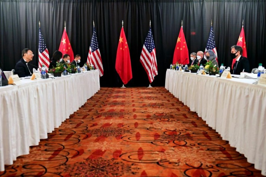 US Secretary of State Antony Blinken (Second R), joined by National Security Advisor Jake Sullivan (R), speaks while facing Yang Jiechi (Second L), director of the Central Foreign Affairs Commission Office, and Wang Yi (L), China's State Councilor and Foreign Minister, at the opening session of US-China talks at the Captain Cook Hotel in Anchorage, Alaska, US on March 18, 2021 — Pool via REUTERS