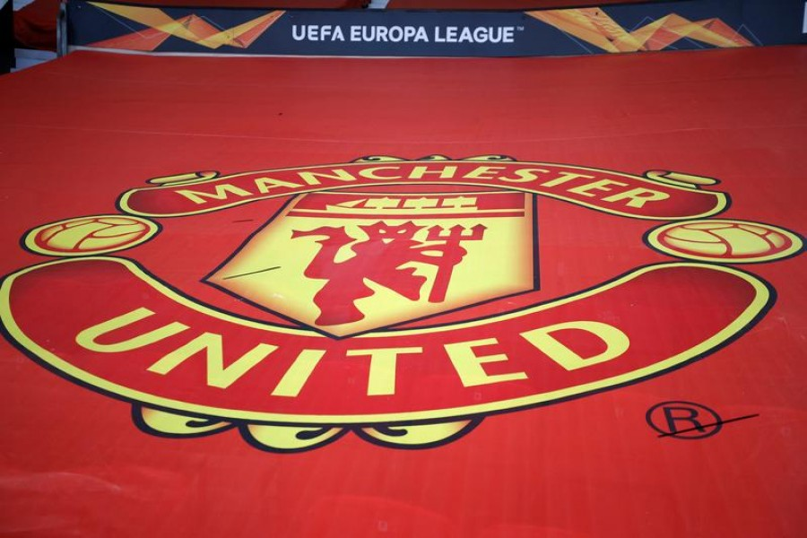 A general view of the crest of Manchester United inside the Old Trafford stadium — Reuters/Files