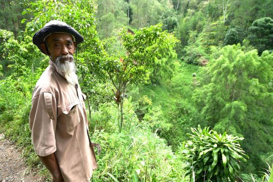 Sadiman, a 69-year-old ecowarrior, stands near a hill which is the first area he replanted with trees 20 years ago, in Wonogiri, Central Java province, Indonesia, in this still taken from March 13, 2021 video. Stringer/REUTERS TV via REUTERS