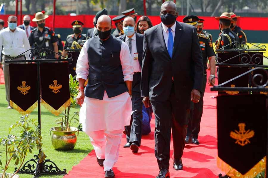 India's Defence Minister Rajnath Singh and US Secretary of Defense Lloyd Austin leaving after a ceremonial reception in New Delhi on Saturday –Reuters photo