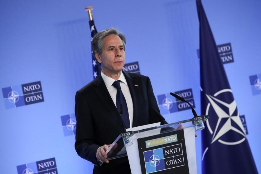 US Secretary of State Antony Blinken delivers remarks during a NATO Foreign Ministers' meeting at the Alliance's headquarters in Brussels, Belgium, March 23, 2021 — Reuters