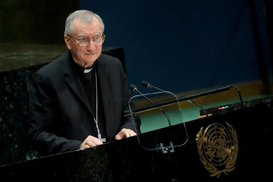 Secretary of State of the Holy See Cardinal Pietro Parolin addresses the 74th session of the United Nations General Assembly at UN headquarters in New York City, New York, US, September 28, 2019 — Reuters/Files