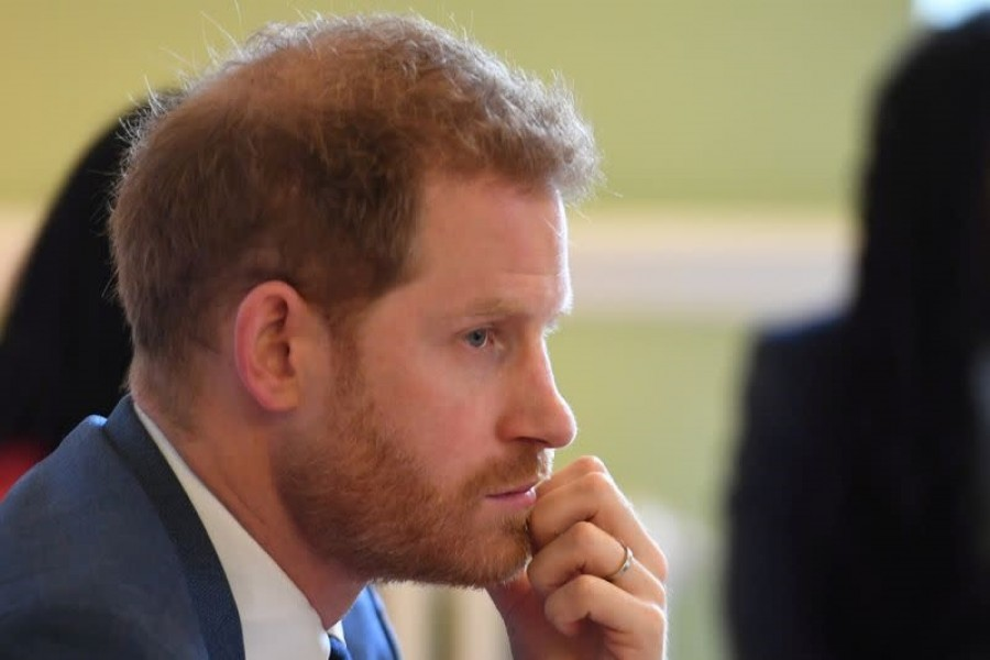 Britain's Prince Harry, Duke of Sussex, attends a roundtable discussion on gender equality with The Queen's Commonwealth Trust (QCT) and One Young World at Windsor Castle, Windsor, Britain, October 25, 2019 — Jeremy Selwyn/Pool via Reuters