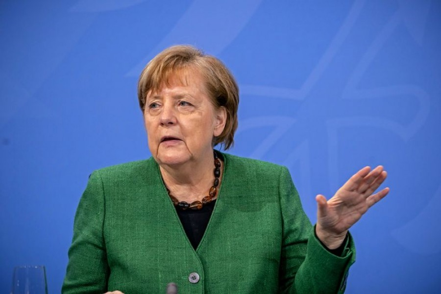 German Chancellor Angela Merkel speaks at a news conference after a meeting with state leaders to discuss options beyond the end of the pandemic lockdown, amid the outbreak of the coronavirus disease (Covid-19), in Berlin, Germany, March 23, 2021 — Michael Kappeler/Pool via Reuters