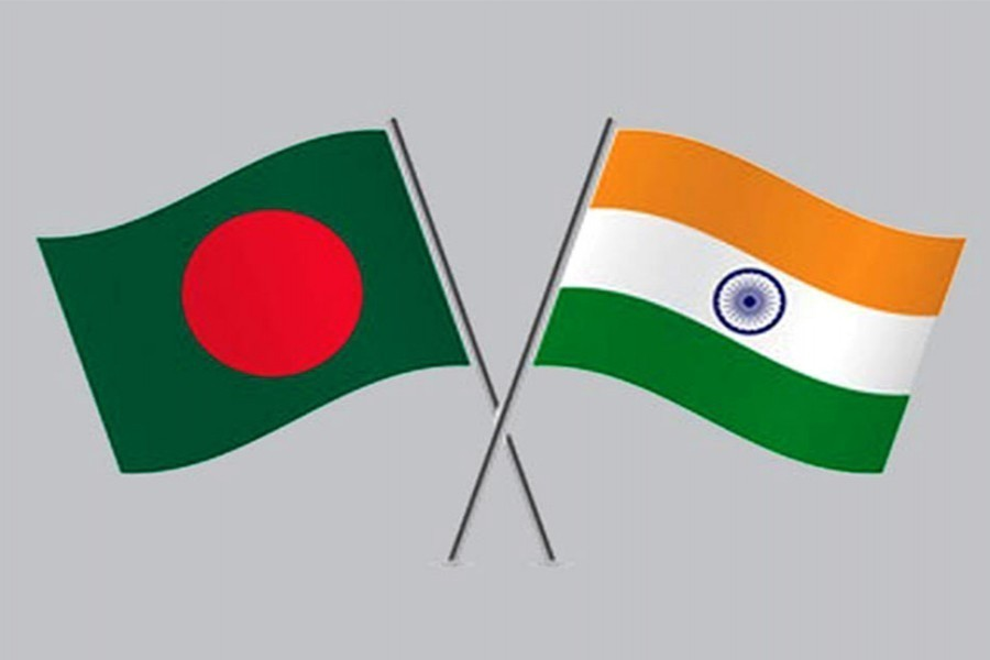Flags of Bangladesh and India are seen cross-pinned in this photo symbolising friendship between the two nations — Collected