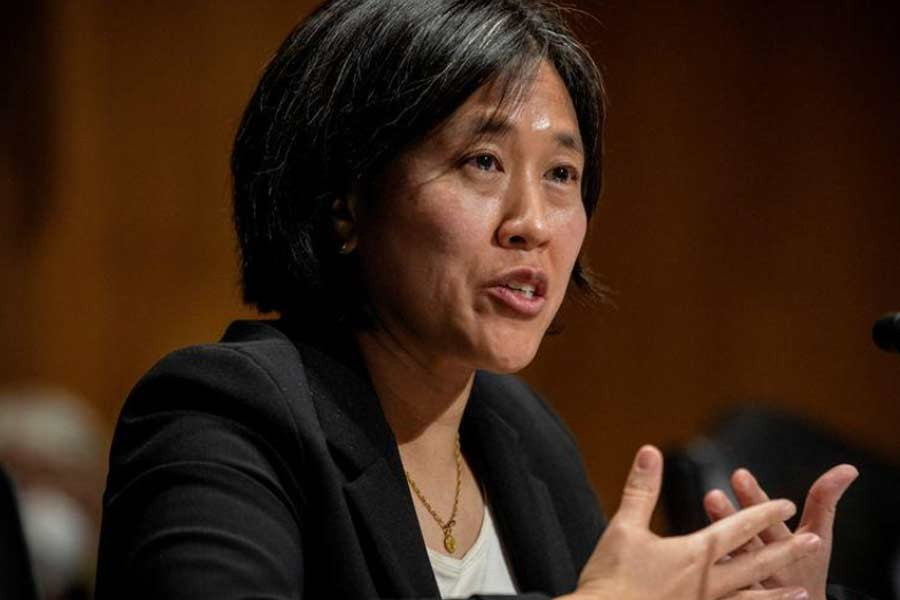 Katherine C. Tai addressing the Senate Finance committee hearings to examine her nomination to be United States Trade Representative, with the rank of ambassador, in Washington, DC in February 25 this year -Reuters file photo