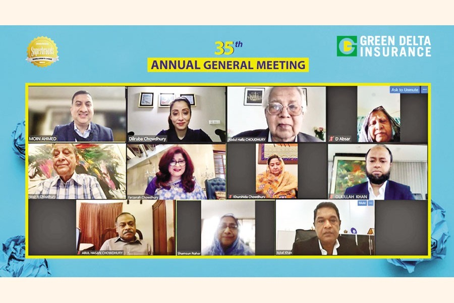 The 35th Annual General Meeting of Green Delta Insurance Company Limited was held on Tuesday through an online conferencing and broadcasting platform. The meeting was presided over by Abdul Hafiz Chowdhury, Chairman of the company while Farzanah Chowdhury, Chartered Insurer, MD and CEO of Green Delta Insurance, and Advisor and Founding Managing Director of Green Delta Insurance, Nasir A. Choudhury, were present.