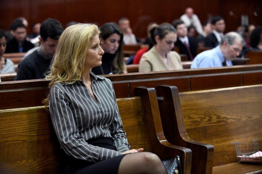 FILE PHOTO: Summer Zervos, a former contestant on The Apprentice, appears in New York State Supreme Court during a hearing on a defamation case against US President Donald Trump in Manhattan, New York, US, December 5, 2017. REUTERS/Barry Williams/Pool