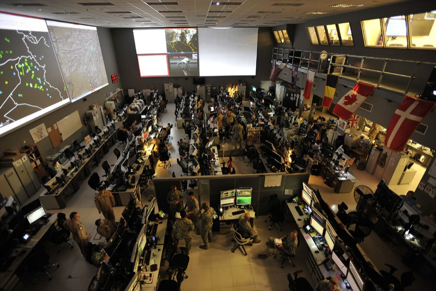 Combined Air and Space Operations Center (CAOC) provided command and control of air power throughout Iraq, Syria, Afghanistan, and 17 other nations. Photograph Source: Tech. Sgt. Joshua Strang – Public Domain