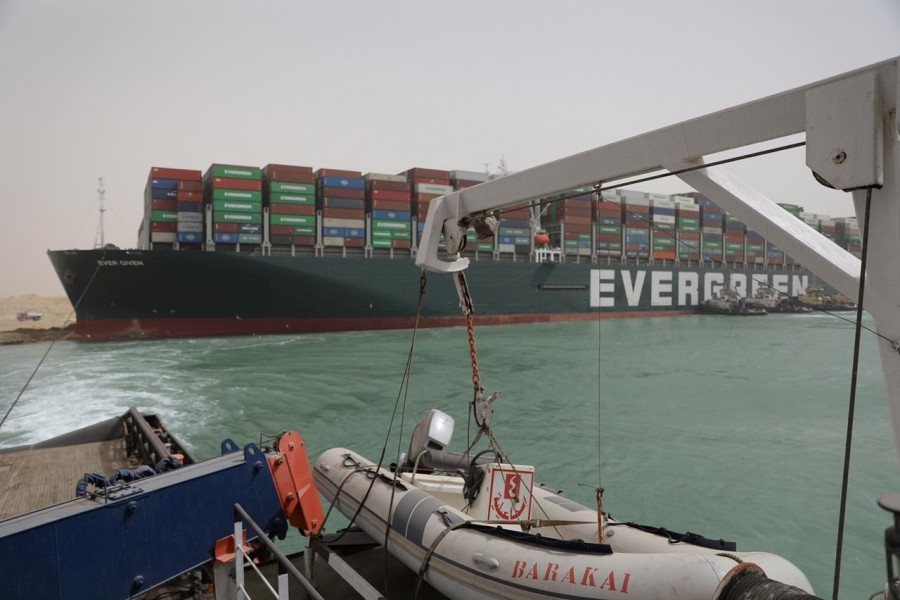 Stranded container ship Ever Given, one of the world's largest container ships, is seen after it ran aground, in Suez Canal, Egypt on March 25, 2021 — Suez Canal Authority/Handout via REUTERS