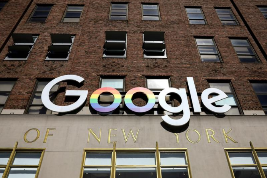 The Google logo is displayed outside the company offices in New York, US, June 4, 2019 — Reuters/Files