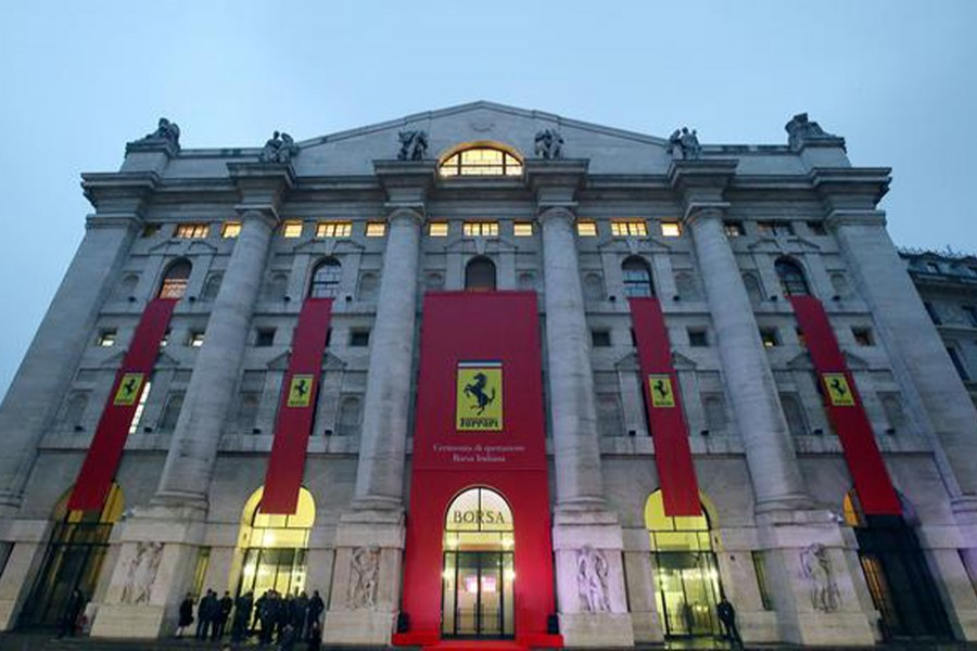 Ferrari's logo is seen on the facade of Milan's stock exchange, downtown Milan, Italy on January 4, 2016 — Reuters/Files