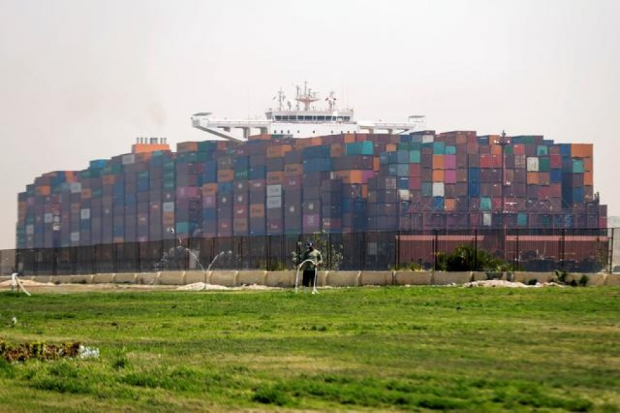 A ship is seen after sailing through Suez Canal, in Ismailia, Egypt on April 6, 2021 — Reuters photo