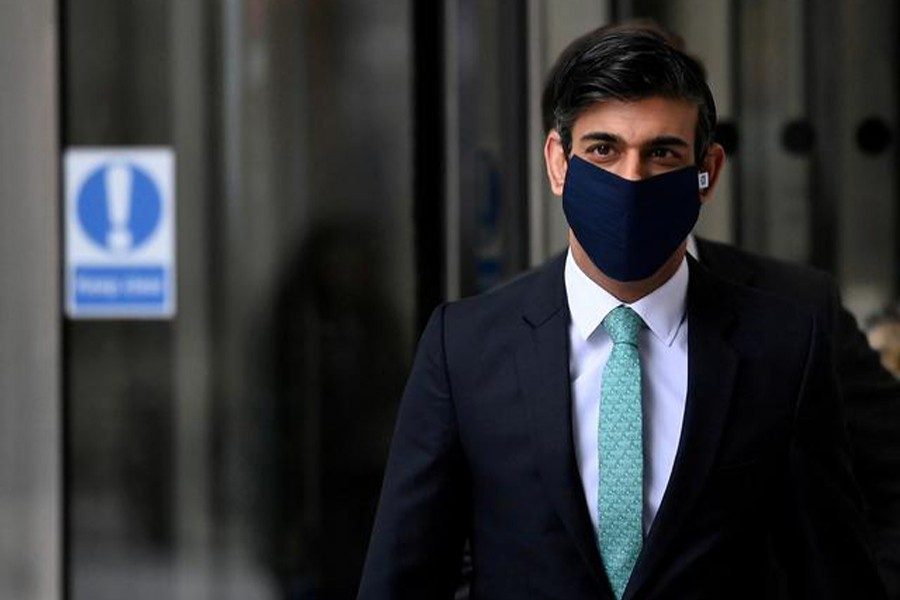Britain's Chancellor of the Exchequer, Rishi Sunak leaves the New Broadcasting House following an interview on BBC TV's The Andrew Marr Show, amid the spread of the coronavirus disease (Covid-19), in London, Britain on February 28, 2021 — Reuters/Files