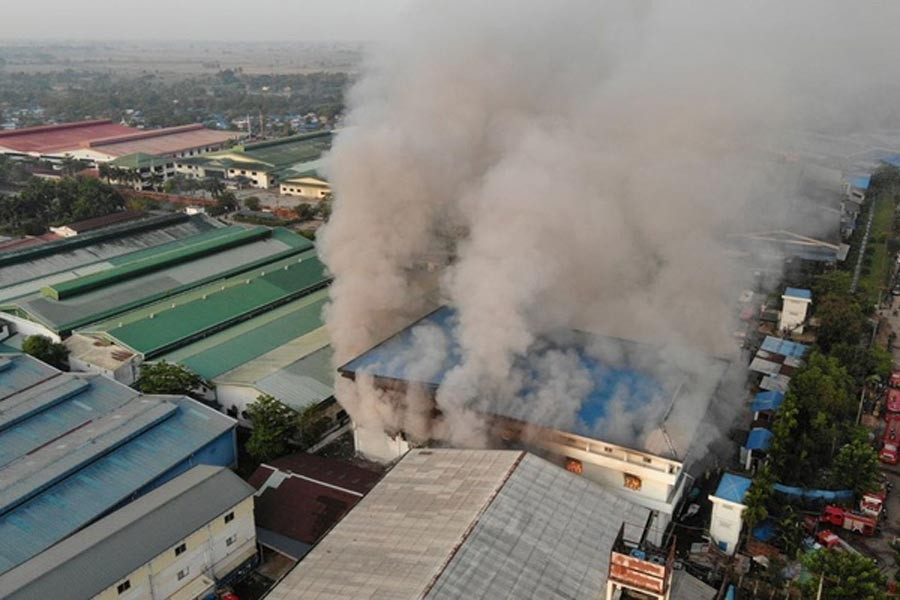 General view of a fire at JOC Galaxy (Myanmar) Apparel Co. in Hlaing Thar Yar township, Yangon, Myanmar on Wednesday -Reuters photo