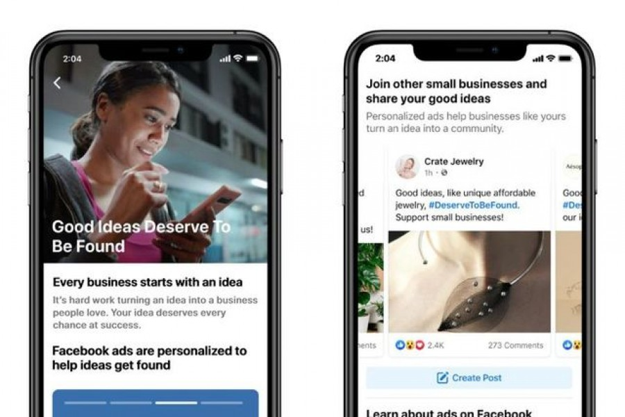 Information about personalised ads is shown on the Facebook app in this undated handout photo provided by Facebook. Facebook/Handout via REUTERS