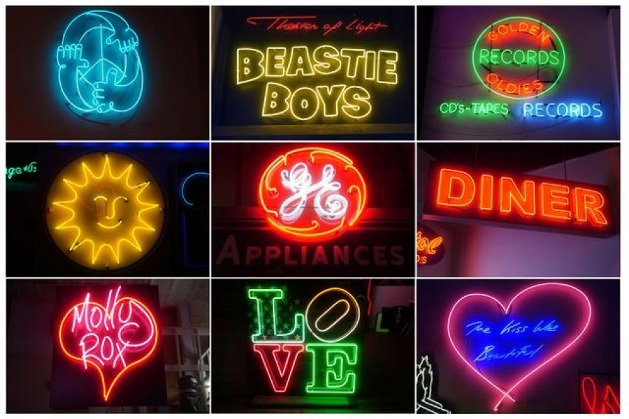"""Neon signs are pictured in this combination image at the """"Let There Be Neon"""" store amid the coronavirus disease (COVID-19) pandemic in the Manhattan borough of New York City, New York, U.S., April 8, 2021. REUTERS/Carlo Allegri"""