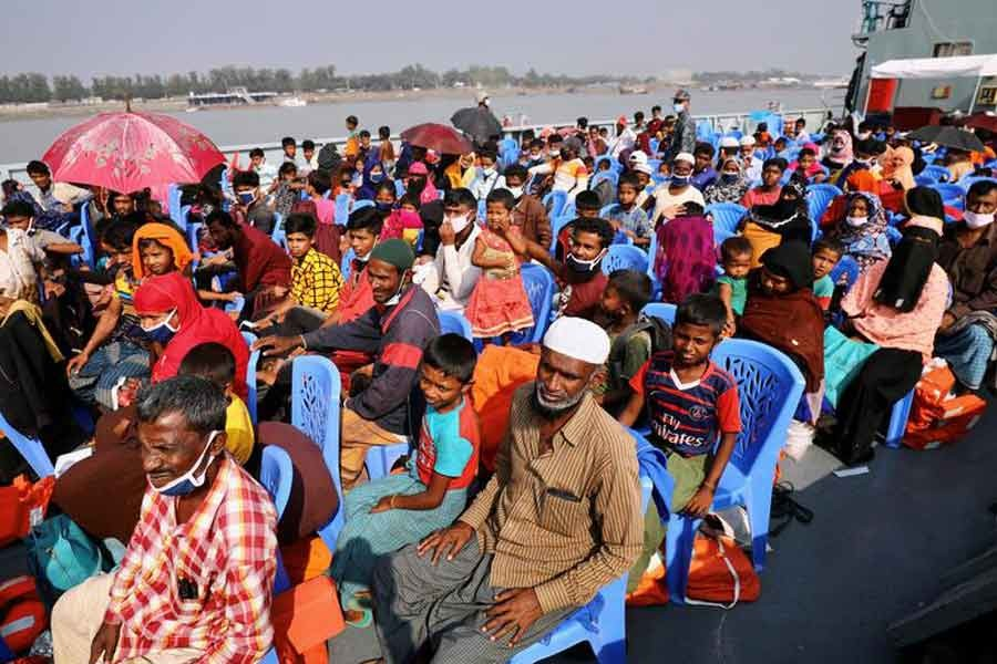 Rohingyas are seen onboard a ship as they are moving to Bhasan Char island in Chattogram, Bangladesh, in December last year -Reuters file photo