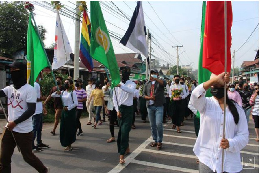 People march during a protest against the military coup in Dawei, Myanmar April 13, 2021. Courtesy of Dawei Watch/via REUTERS