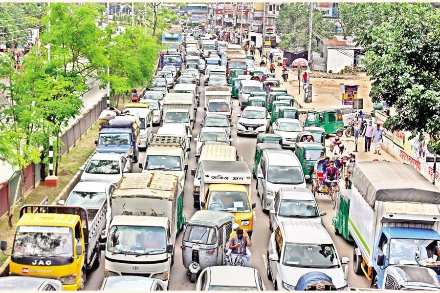 A traffic congestion at Mahakhali in the city on Thursday — Focus Bangla