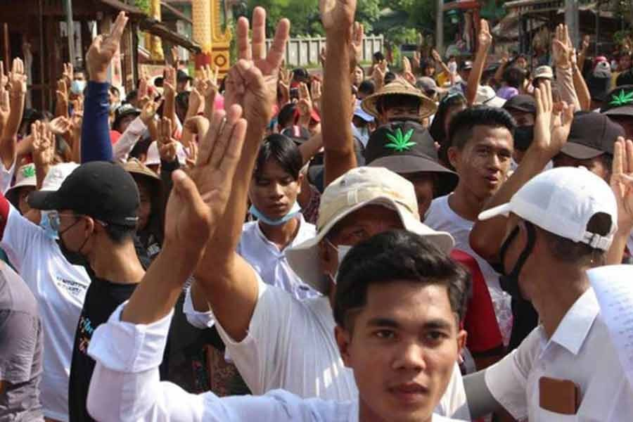People attend a protest against Myanmar's military coup in Launglon, Myanmar, recently -Reuters file photo