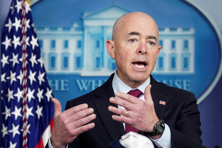 US Department of Homeland Security Secretary Alejandro Mayorkas speaks during a press briefing at the White House in Washington, US, March 1, 2021. REUTERS/Kevin Lamarque/File Photo