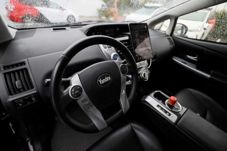 An interior view shows a self-driving car owned and tested by Yandex company during a presentation in Moscow, Russia August 16, 2019. REUTERS