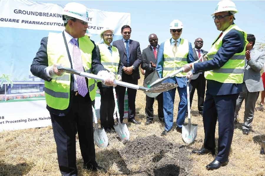 Tapan Chowdhury, Managing Director of Square Pharmaceuticals Ltd. and Adan Mohammed, Cabinet Secretary for Ministry of Industry, Trade and the Cooperatives Republic of Kenya at plant construction area after the groundbreaking event in 2018 -File photo