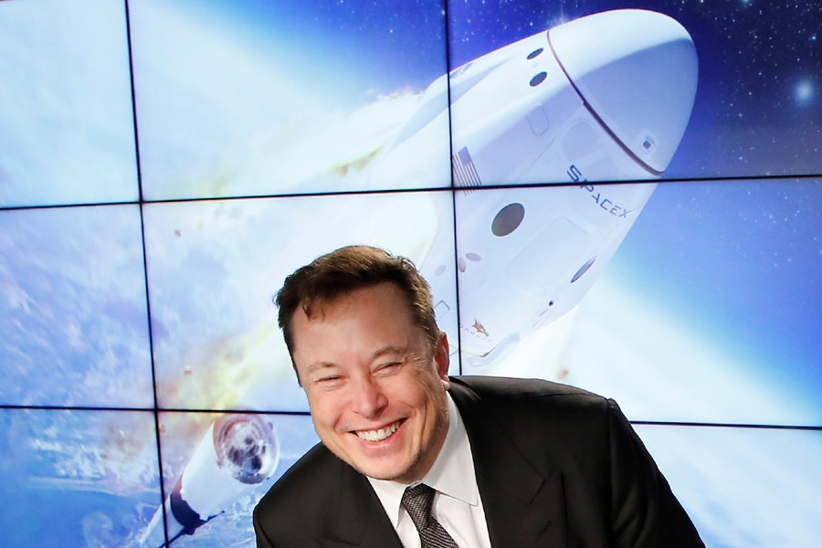 SpaceX founder and chief engineer Elon Musk reacts at a post-launch news conference to discuss the SpaceX Crew Dragon astronaut capsule in-flight abort test at the Kennedy Space Center in Cape Canaveral, Florida, US on January 19, 2020 — Reuters/Files