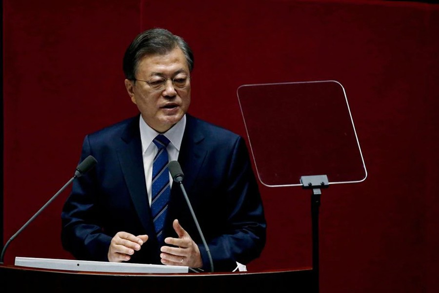 South Korean President Moon Jae-in speaks at the National Assembly in Seoul, South Korea on October 28, 2020 — Pool via REUTERS