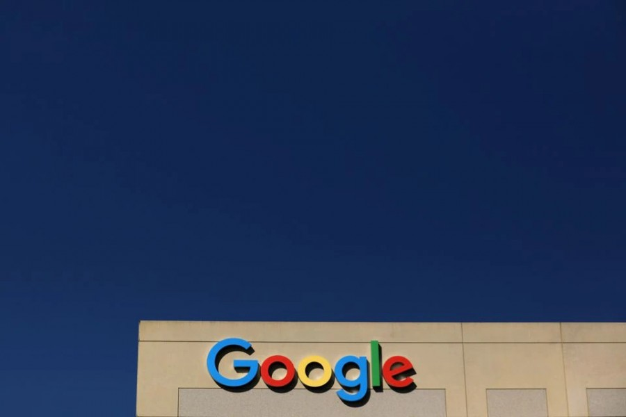 The Google logo is pictured atop an office building in Irvine, California, US on August 7, 2017 — Reuters/Files