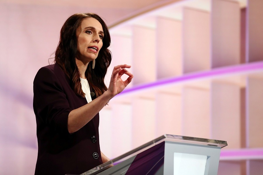 New Zealand Prime Minister Jacinda Ardern participates in a televised debate with National leader Judith Collins at TVNZ in Auckland, New Zealand, September 22, 2020. Fiona Goodall/Pool via REUTERS