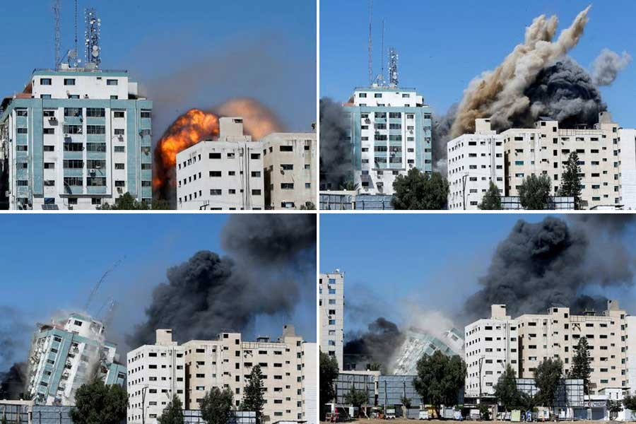 A combination picture shows a building housing AP, Al Jazeera offices as it collapses after Israeli missile strikes in Gaza city on Saturday –Reuters photos