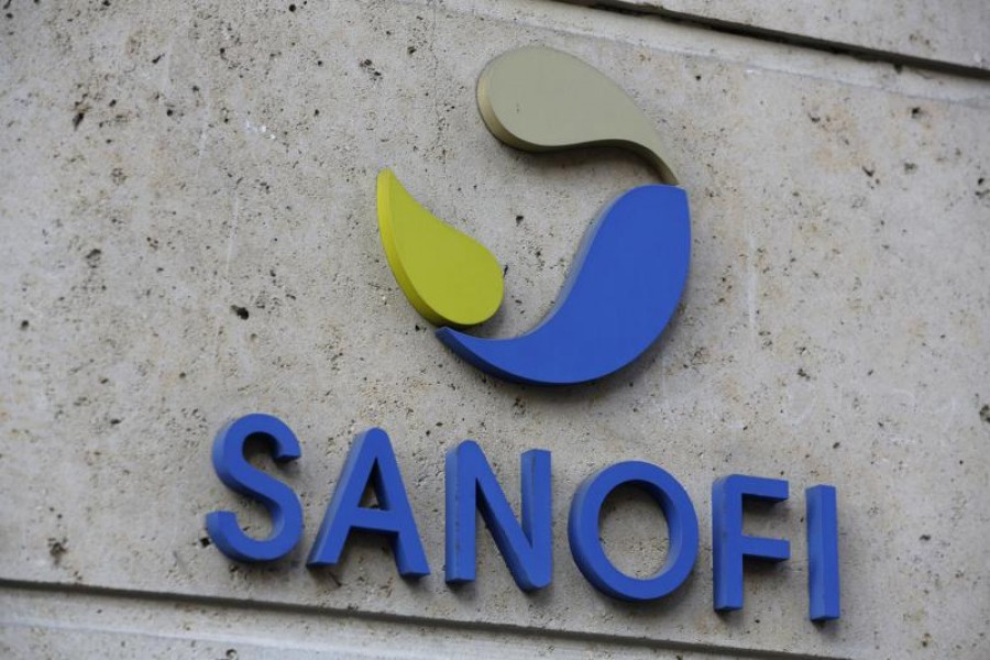 In this November 30, 2020 file photo the logo of French drug maker Sanofi is picture at the company's headquarters, in Paris — AP