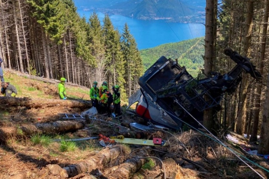 A crashed cable car is seen after it collapsed in Stresa, near Lake Maggiore, Italy May 23, 2021. ALPINE RESCUE SERVICE/Handout via REUTERS