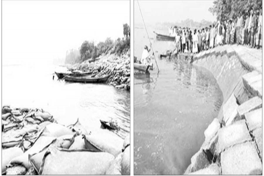 File photos show eroded vulnerable spots of Meghna-Dhonagoda Irrigation Dam near Janata Bazar in Matlab Uttar (left) and the dam was repaired by dumping sand-filled bags last year