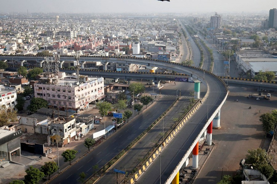 A view shows empty roads during a 14-hour long curfew to limit the spreading of coronavirus disease (Covid-19) in the country, in Ahmedabad, India on March 22, 2020 — Reuters/Files