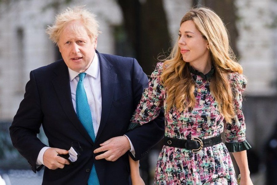 The prime minister and Carrie Symonds were photographed as they went to vote in this month's local elections - Reuters photo