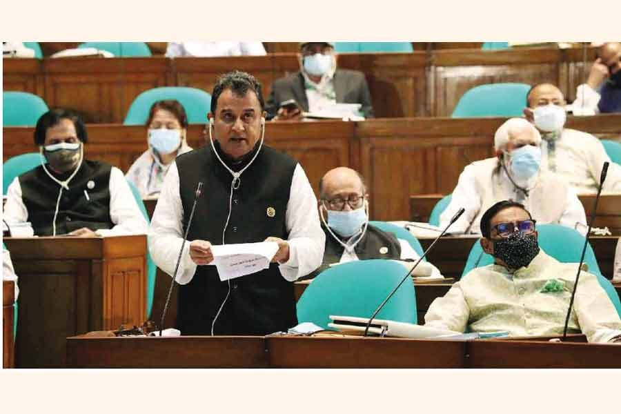 Finance minister AHM Mustafa Kamal during the budget speech at the national parliament on June 3. —PID Photo