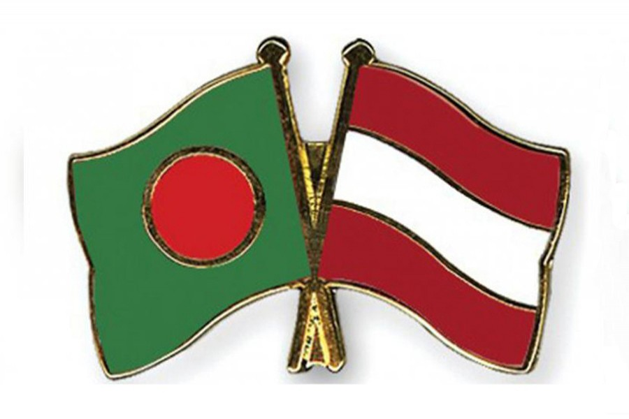 Flags of Bangladesh and Austria are seen cross-pinned in the image, symbolising friendship between the two nations