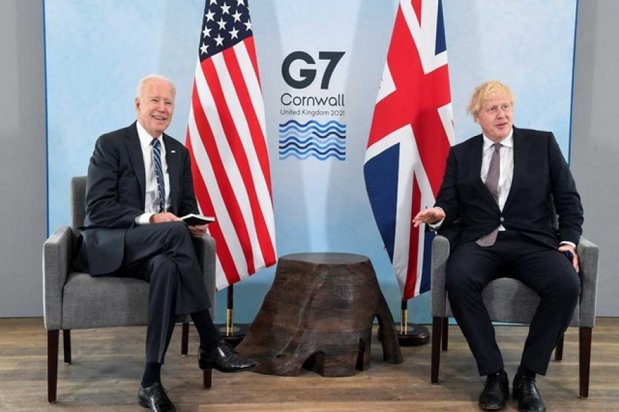 Britain's Prime Minister Boris Johnson meets with US President Joe Biden, ahead of the G7 summit, at Carbis Bay, Cornwall, Britain on June 10, 2021 — Reuters photo