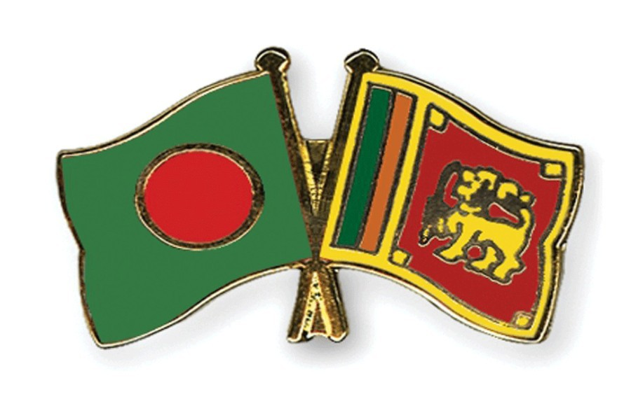 Flags of Bangladesh and Sri Lanka are seen cross-pinned in the image, symbolising friendship between the two nations