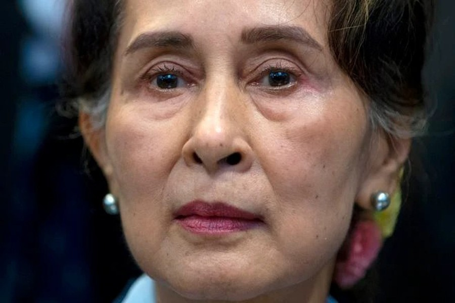 Myanmar's leader Aung San Suu Kyi waits to address judges of the International Court of Justice in The Hague, Netherlands in this file photo dated December 11, 2019 — AP