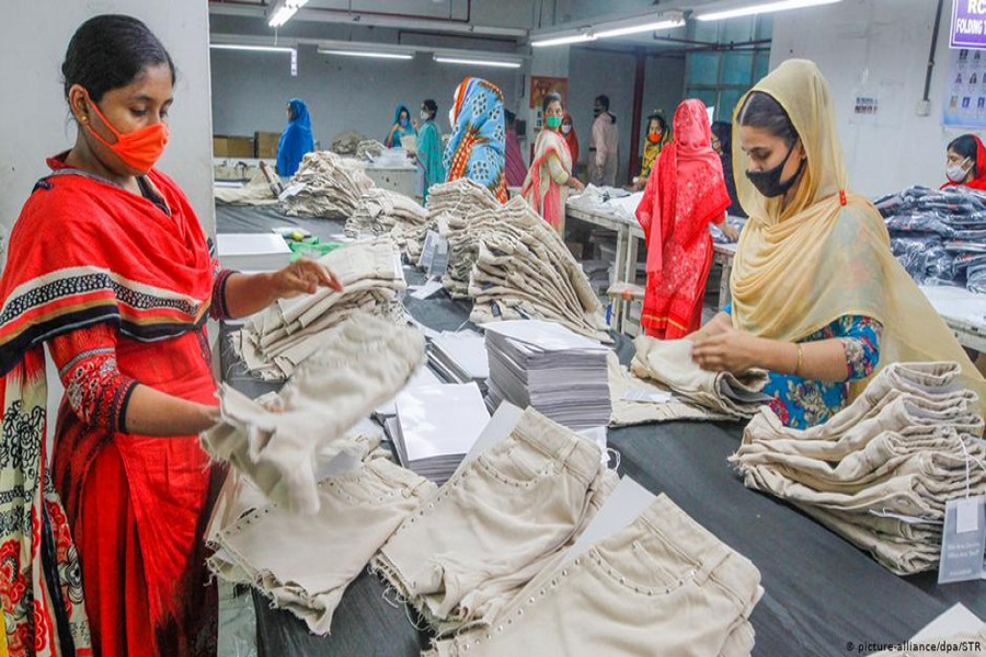 Workers at a RMG factory in Bangladesh