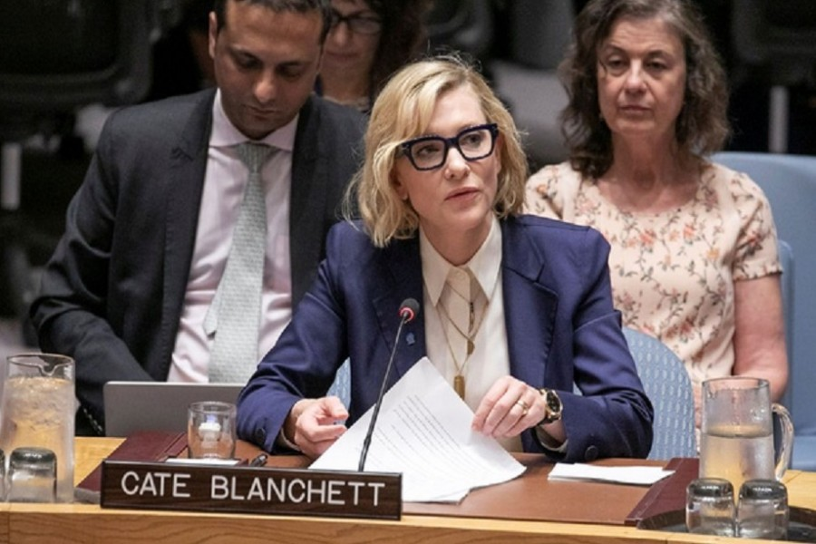Cate Blanchett, Goodwill Ambassador for UNHCR, the UN Refugee Agency, speaks at the United Nations Security Council on the Rohingya emergency in New York City, New York, US August 28, 2018. REUTERS