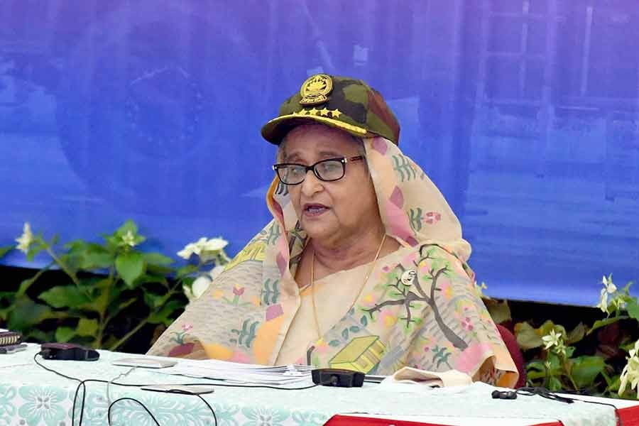 Prime Minister Sheikh Hasina addressing the induction ceremony of Tiger Multiple Launch Rocket Missile System (MLRS) to Bangladesh Army's 51 MLRS Regiment in Savar Cantonment, joining virtually from Ganabhaban, on Sunday -PID Photo