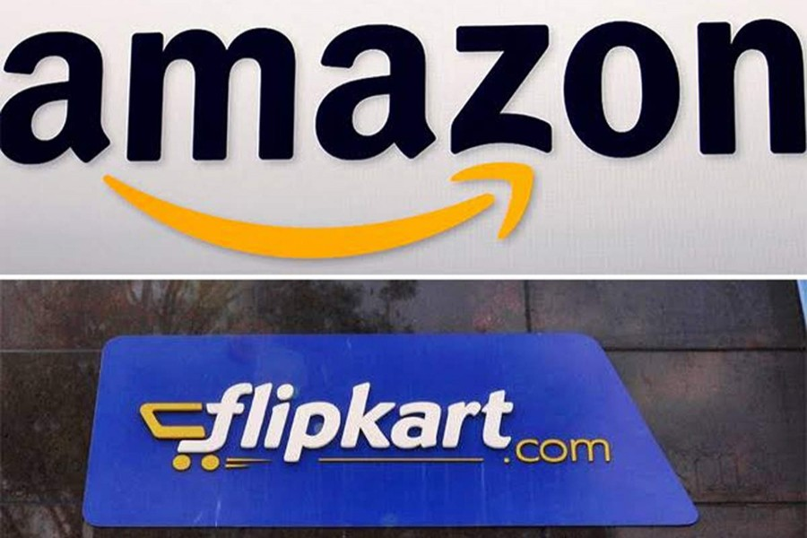 The logos of Amazon and Flipkart are seen in this photo collage — Collected
