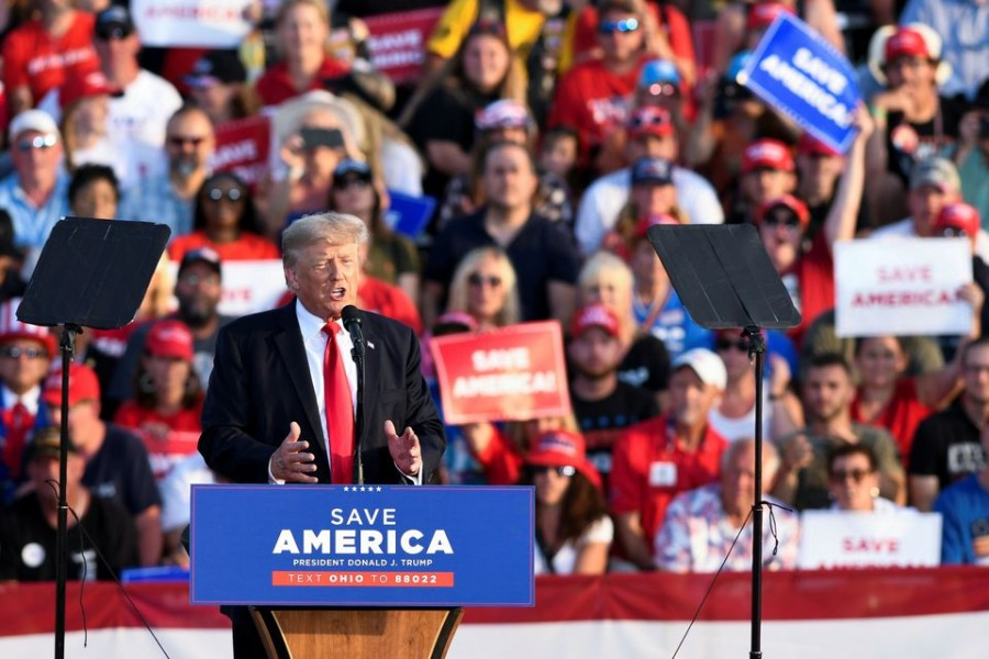 Former U.S. President Trump holds his first post-presidency campaign rally at the Lorain County Fairgrounds in Wellington, Ohio, US, June 26, 2021. REUTERS/Gaelen Morse